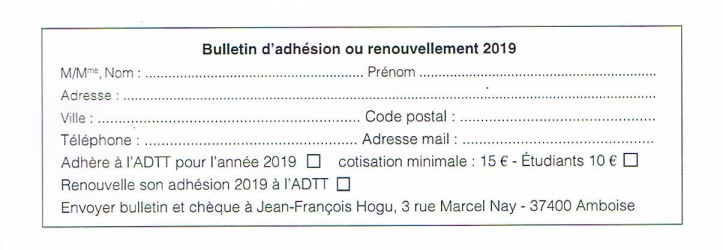 bulletin adhésion ADTT 2019